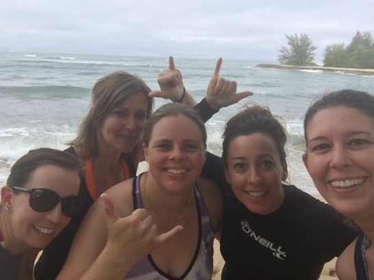 Getting ready to surf with amazing friends in Hawaii